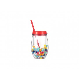 Sublimation 10oz/300ml Double Wall Clear Plastic Stemless Cup (Red, w/ Mini Foam Balls)(10/pack)