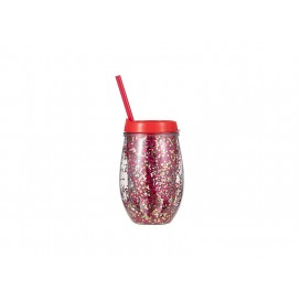 Sublimation 10oz/300ml Double Wall Clear Plastic Stemless Cup (Red, w/ Red & Gold Glitters)(10/pack)
