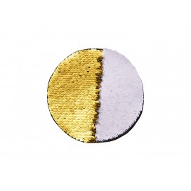 Flip Sequins Adhesive (Round, Gold W/ White)  (10/pack)