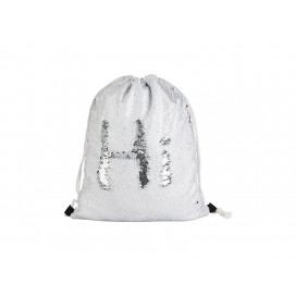 Sequin Drawstring Backpack(White/Silver) (10/pack)