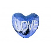 Heart Shaped Sequin Pillow Cover(Dark Blue w/ White, 39*44cm)(10/pack)