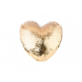 Heart Shaped Sequin Pillow Cover(Gold w/ White, 39*44cm)   (10/pack)