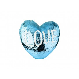 Heart Shaped Sequin Pillow Cover(Light Blue w/ White, 39*44cm)  (10/pack)