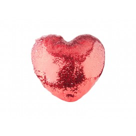 Heart Shaped Sequin Pillow Cover(Red w/ White, 39*44cm)                                (10/pack)