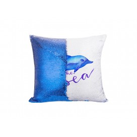 Flip Sequin Pillow Cover(Dark Blue w/ White, 40*40cm)  (10/pack)