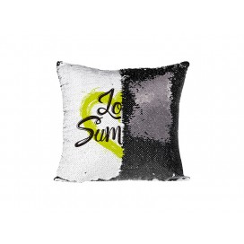 Flip Sequin Pillow Cover (Black w/ White)  (10/pack)