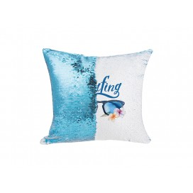 Flip Sequin Pillow Cover(Light Blue w/ White, 40*40cm)  (10/pack)