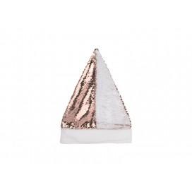 Flip Sequin Santa Hat (Champagne W/ White) (10/Pack)