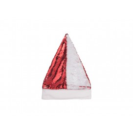 Flip Sequin Santa Hat (Red W/ White) (10/Pack)