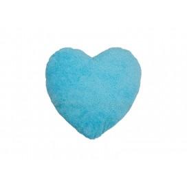 Heart Shaped Blended Plush Pillow Cover(White w/ Light Blue, 40*40cm)                                (10/pack)