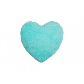 Heart Shaped Blended Plush Pillow Cover(White w/ Green, 40*40cm)                                (10/pack)