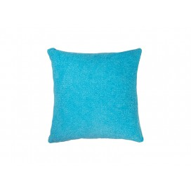 Square Blended Plush Pillow Cover (White w/ Light Blue, 40*40cm)                                (10/pack)