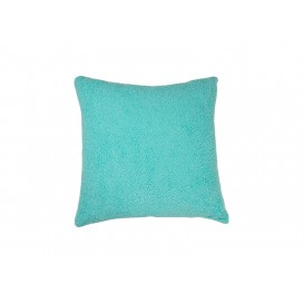 Square Blended Plush Pillow Cover (White w/ Green, 40*40cm)                                (10/pack)