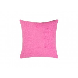 Square Blended Plush Pillow Cover (White w/ Pink, 40*40cm)                                (10/pack)