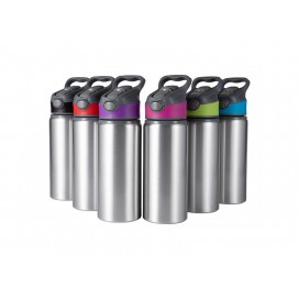 20oz/650ml Sublimation Alu Water Bottle with Color Cap (Silver) (25/pack)