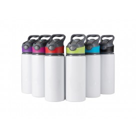 20oz/650ml Sublimation Alu Water Bottle with Color Cap (White) (25/pack)